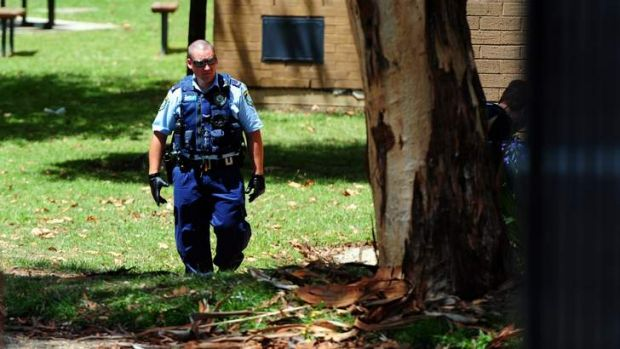 NSW Police at the scene of a student stabbing at Karabar High School.