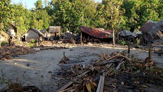 Houses by an earthquake and subsequent tsunami in the village of Venga in the Santa Cruz Islands region of the Solomon ...