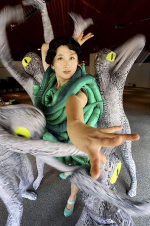 Slithering … <i>Snakes Alive</i> performer Cheryl Brain.