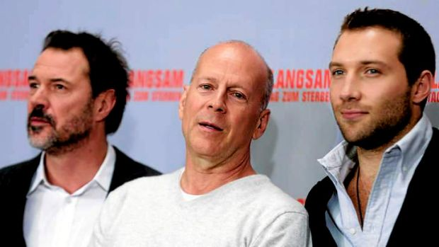 Big shot: Bruce Willis with co-stars Sebastian Koch (left) and Jai Courtney at a promotion for <i>A Good Day to Die Hard</i>.