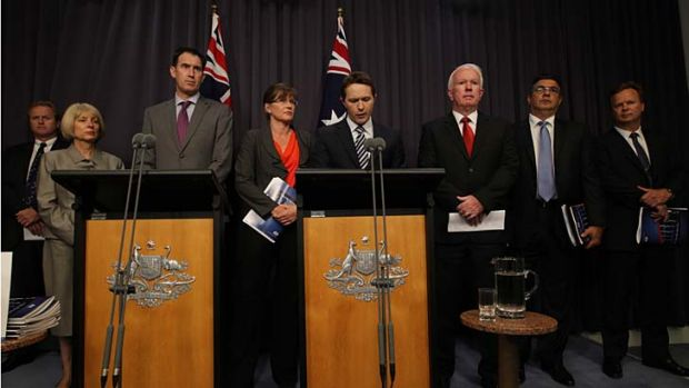 Home Affairs Minister Jason Clare, Minister for Sport Senator Kate Lundy speak to the media during a joint press ...
