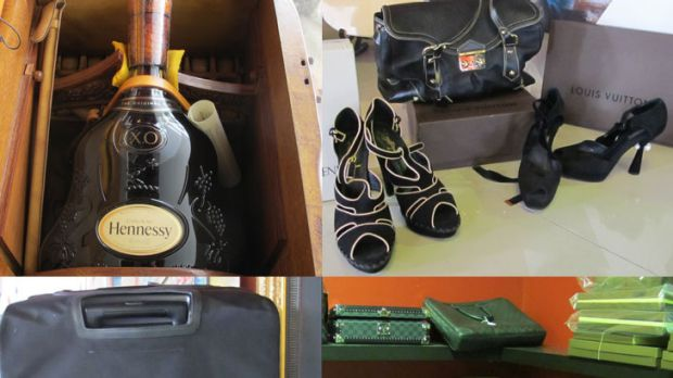 Clockwise from top left: A six-litre bottle of Hennessy valued at $25,000; Yves Saint-Laurent Shoes, value unknown; a ...