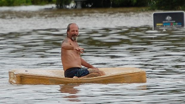 Bundaberg was awash with odd sights as flood waters moved in.