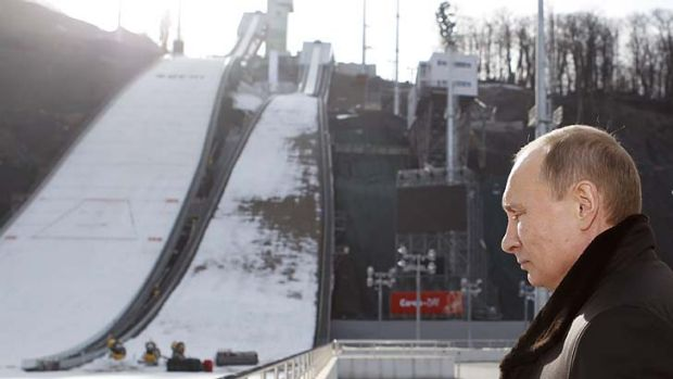 "Warming up ... Russia's President Vladimir Putin visits the ""RusSki Gorki"" Jumping Centre near the Black Sea city of ..."