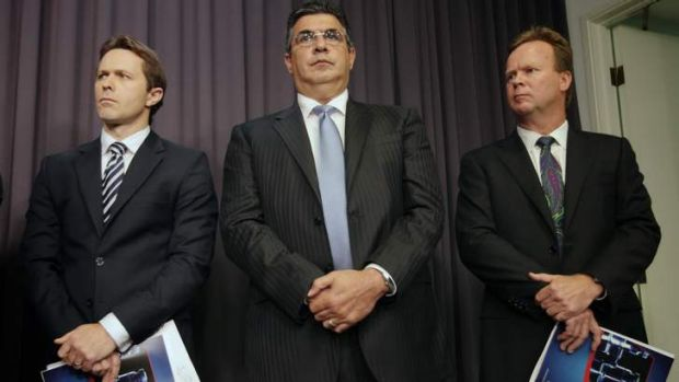 Home Affairs Minister Jason Clare, AFL chief executive Andrew Demetriou and Australian Rugby Union CEO Bill Pulver at ...