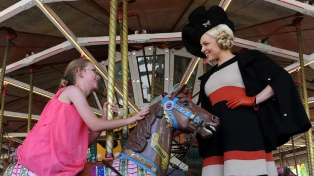 Pegasus student, 11 year old Chelsea Boulding, of Banks, has a ride with Face of Canberra Racing entrant, 23 year old ...