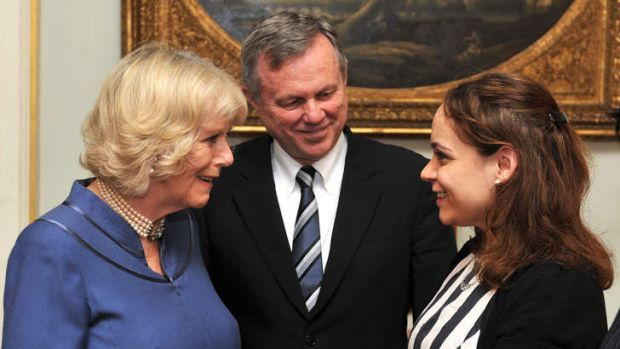 Britain's Camilla, Duchess of Cornwall talks with Rebecca Richards watched by Australian High Commissioner to London ...