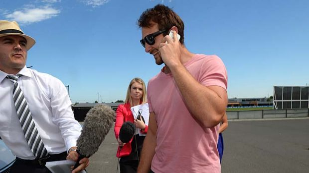 Eye of the storm ... Essendon captain Jobe Watson leaves Windy Hill on Thursday. Bombers players were injected by club ...