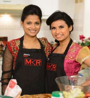 Death threats ... <i>My Kitchen Rules</i> contestants Jessie Khan, left, and Biswa Kamila.