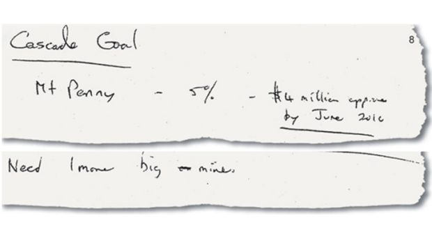 "Greg Jone's handwriting … $4 million for Mr Macdonald by June 2015 and Mr Jone's wish for ""1 more big mine""."