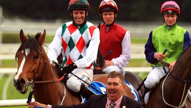 All smiles ... Doctor Doom returns to scale after the Spring Champion Stakes in 2011. Rider Rod Quinn continues his ...