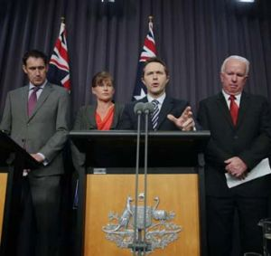 Cracking down ... Justice Minister Jason Clare during Thursday's press conference on organised crime and drugs in sport.
