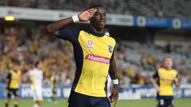 Bernie Ibini celebrates scoring against the Wellington Phoenix.