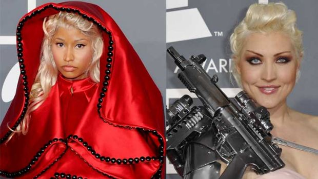 Enough coverage? Nicki Minaj and Sacha Gradiva would seem to be following orders in their 2012 Grammy outfits