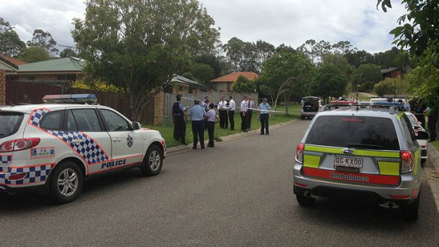 Emergency crews at the scene of a shooting at Mango Hill, north of Brisbane.