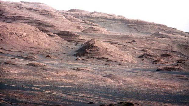 The base of Mars's Mount Sharp -  the rover's destination.