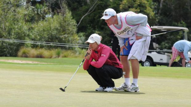 Nikki Campbell lines up a putt during the opening round of the 2013 New Zealand Women's Open.