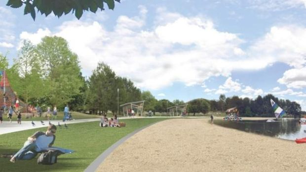 The Foreshore: Key moves include sealing the existing path, updating park furniture and playspace, improving the beach ...