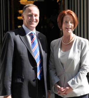 New Zealand Prime Minister John Key and Julia Gillard.