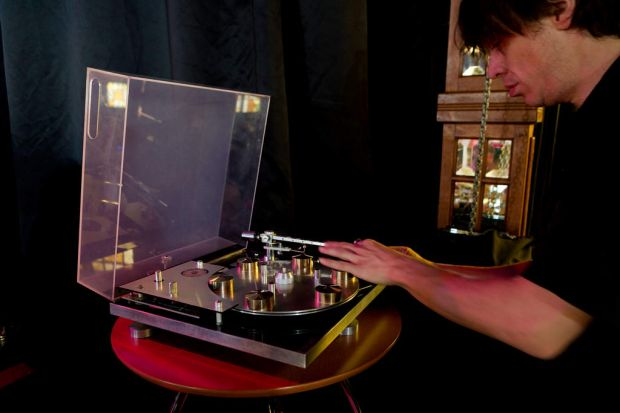 A vintage record player at The Vinyl Evolution, an event held to celebrate Vinyl Records at The Famous Spiegeltent, ...