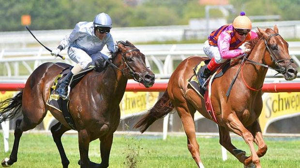 Craig Williams rides Adebisi to win the Schweppes Rubiton Stakes from Glen Boss on Rescue Mission.