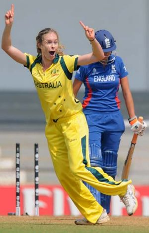 Holly Ferling celebrates after taking the wicket of Jennifer Gunn of England.