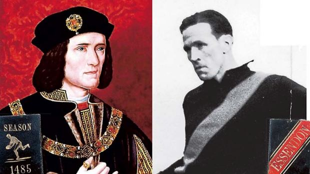 King Richard III and his digitally altered membership ticket (left) and Dick Reynolds and the membership card being sold ...