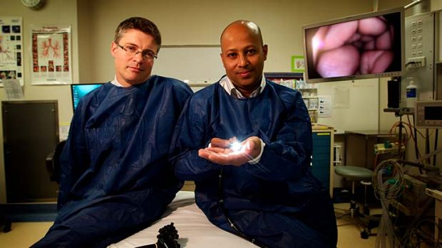 Austin head of endoscopy Dr Rhys Vaughan (left) and endoscopist nurse Jomon Joseph.