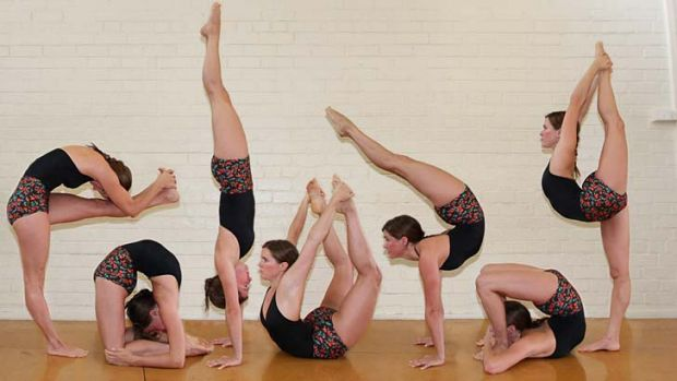 A composite photo of postures Australian Yoga Asana champion Sarah Wells creates in competitions such as the ...