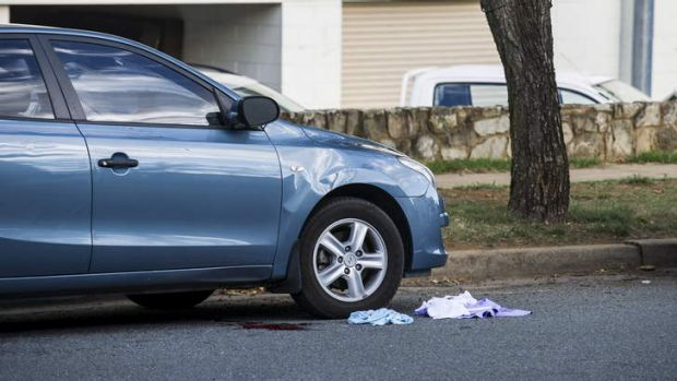 Blood and clothing at the scene of a serious hit and run on Henty Sreet.