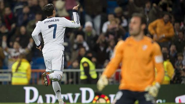 Cristiano Ronaldo celebrates scoring one of his three goals.
