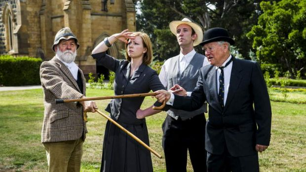 """(L-R) Actors, John McGlynn, Georgia Pike, Dale Stam, and Phil Perman, will perform in """"The Battle of the Sites"""" at St ..."""