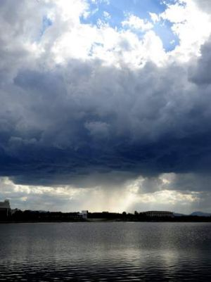 A storm brews over Canberra on Sunday afternoon.