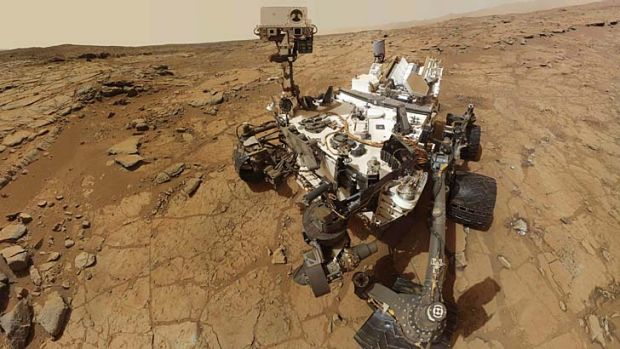 New milestone ... NASA's Mars rover Curiosity is the first to bore into a rock.