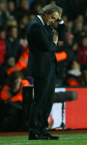 Disappointed ... Roberto Mancini.
