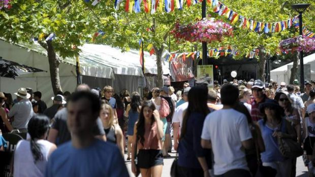 People fill Garema Place for the National Multicultural Festival at the weekend.