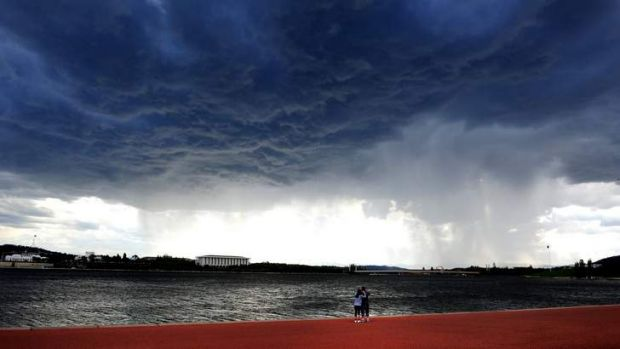 A storm brews over Lake Burley Griffin on Sunday afternoon.