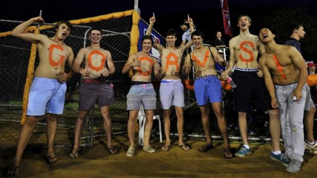 Dedicated Canberra Cavalry supporters on Saturday night.