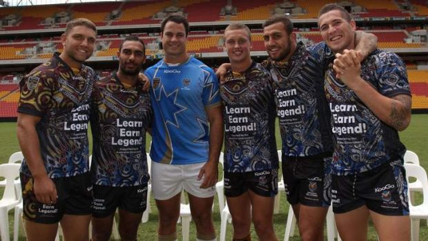 Raiders in the 2013 All Stars match: Jake Foster, Reece Robinson, David Shillington, Jack Wighton, Blake Ferguson and ...