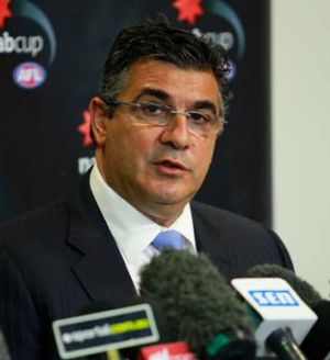 Andrew Demetriou at the press conference.