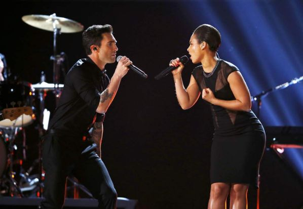 Maroon 5 singer Adam Levine, left, and Alicia Keys perform at the Grammys.