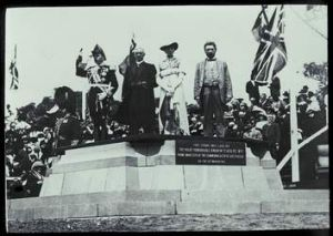 The city was officially named by Lady Denman, at a ceremony on Kurrajong Hill (now known as Capital Hill). Left to right ...