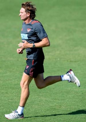 More revelations … Essendon coach James Hird at training last week.