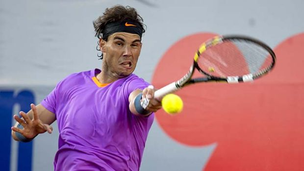 Rafael Nadal plays a forehand against Argentine Horacio Zeballos.