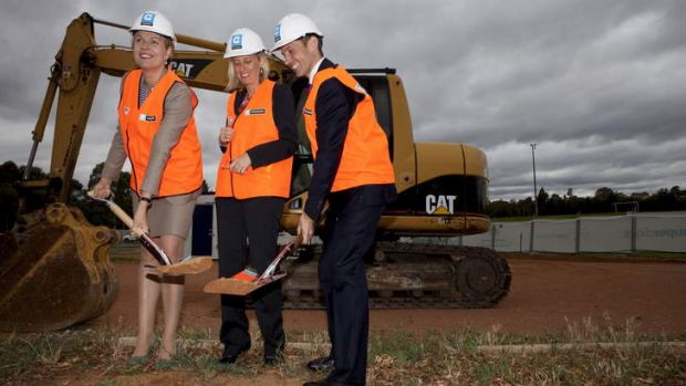 Federal Health Minister Tanya Plibersek, ACT Chief minister Katy Gallagher and Federal Member for Fraser Andrew Leigh ...