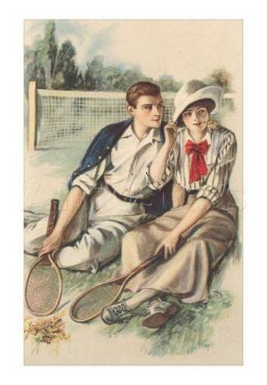 Young lovers with tennis tennis racquets, the subconscious inspiration for the floodlights at Manuka Oval?
