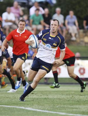 Jesse Mogg of the Brumbies scores  during the Super Rugby trial match against  the ACT XV.