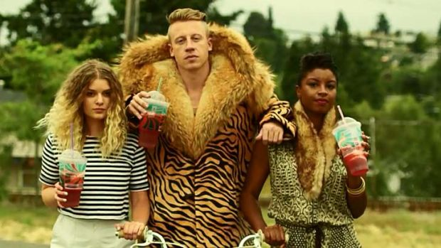 Sharp rhymes ... rapper John Macklemore, centre.