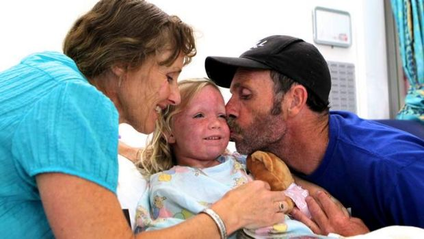 Survivor … Claire recovering in Prince of Wales Children Hospital in Randwick.