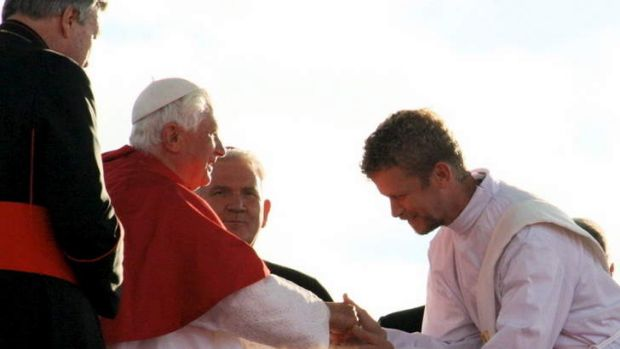Canberra's Deacon Matt Ransom (right) with Pope Benedict at World Youth Day in Sydney in August 2008.?